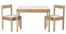 IKEA LATT Children's Table 2 Chairs Wooden Pine Solid Wood Kids Furniture Set