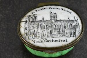 c.1820 Georgian Bilston Enamel Patch Box Trifle From York Catherdral Yorkshire