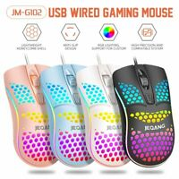 Wired Gaming Mouse RGB Backlit 1600 DPI Honeycomb Lightweight Mouse for PC PS4