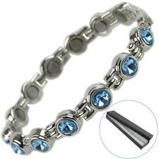 Damen Magnetarmband Kunst Sky Blau Kristalle Magnete Gesundheit Therapie Zugabe