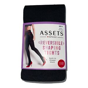 Spanx ASSETS Reversible Shaping Tights Built-in Shaper Short Black Gray Size 4