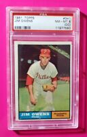 1961 Topps #341 JIM OWENS (Phillies) **PSA 8 (NM-MT) (oc)** SHARP & CRISP! L@@K!