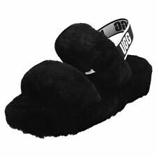UGG Oh Yeah Womens Black Sheepskin Slippers Sandals
