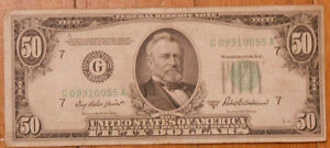 Series 1950-B Fifty Dollar Federal Reserve Note.