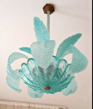 BAROVIER CHANDELIER MURANO 1950 TURQUOISE GLASSES. 4 LIGHTS. RARE