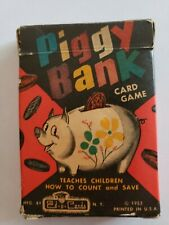 Rare 1953 Vintage Piggy Bank Card Game - Teaches Children To Count And Save.