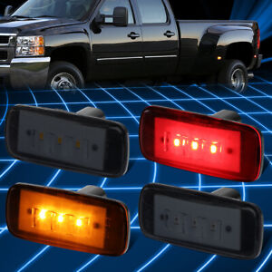 For 10-17 Ram Truck 3500 4Pcs LED Dually Fender Marker Light Replacement Smoked