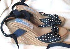 NEW  **SKECHER'S**  Navy/White Fabric,Peep Toe,Ankle Tie, Hemp,Wedge Heel, S.7 M