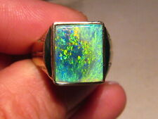 Large Black Opal Mens Dress  Ring  14 K yellow Gold