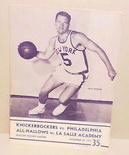 KNICKERBOCKERS vs. PHILADELPHIA WARRIORS program MSG Nov. 28, 1959