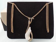 VINTAGE SARAH COVENTRY NECKLACE GOLD TONE WITH WHITE ENAMEL IN ORIGINAL BOX