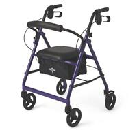 "Medline Basic Aluminum Rollator with 6"" Wheels, Purple"