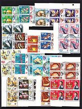 FIJI 1968 COMPLETE SET IN BLOCKS OF FOUR SG 371-387 FINE USED.