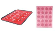 Large Non Stick Silicone Oven Sheet/ Baking Mat - Heart Flowers Floral Love