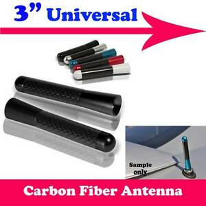 "3"" Stubby Real Carbon Fiber Aluminum Short Antenna Black Screws For GMC Car"