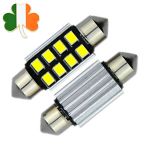 2x 39MM C5W Car LED Bulbs Festoon 8SMD Interior Dome Reading Lights 12V White