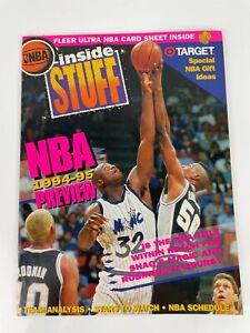 1994 NBA Inside Stuff Magazine | Shaquille O'Neal & Robinson W/ Card Sheet