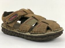 Toddlers OshKosh Brown Leather Sandals Size 7M Ankle Fastener