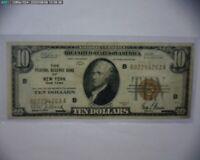 """1929 Ten Dollar $10 NATIONAL CURRENCY Bank Note NEW YORK N.Y. """"CRISP/NICE"""""""