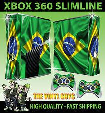 XBOX 360 Slim AUTOCOLLANT Brésil drapeau football vert Brésilien Skin & 2 Pad