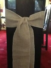 25 X HESSIAN BURLAP VINTAGE CHAIR SASHES TO BUY Overlocked In Matching Cotton
