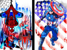Spiderman Captain America 11 x 17 (2) Super hero lot High Quality Posters