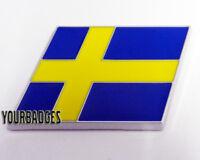 NEW Chrome ABS Sweden Flag Car Badge Swedish Volvo Saab