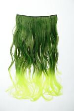 Extension Hair Extension Clip-in 5 Clip Curly Bi-Coloured Ombre Green 50cm long
