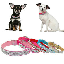 Bling Diamante Rhinestone PU Leather Cat Dog Collars Pink for Small Medium Dogs