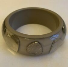 Authentic Dior resin thick bangle with silver monogram hearts