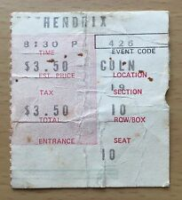 1969 THE JIMI HENDRIX EXPERIENCE LOS ANGELES CONCERT TICKET STUB PURPLE HAZE