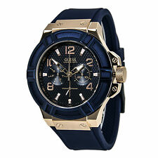 Guess U0247G3 Men's Trendy Blue Dial Rose Gold Steel Blue Strap Date Watch