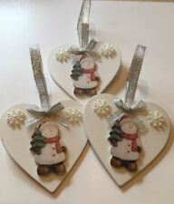 3 X Snowman Christmas Decorations Handmade Shabby Chic Real Wood Silver