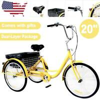 """20"""" Adult Tricycle 3-Wheel Trike Cruiser Bicycle w/Basket for Shopping Yellow"""