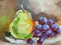 Pear and Grapes, original oil painting a day, still life signed, fruit 5x7, 2019