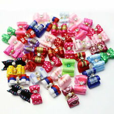 10-100Pcs 3D Small Puppy Pet Dog Rhinestone Hair Bow Bands Grooming Rubber