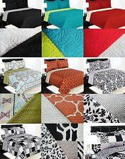 REVERSIBLE SOLID PRINTED QUILT BEDDING BEDSPREAD COVERLET PILLOW CASES SET 2/3PC