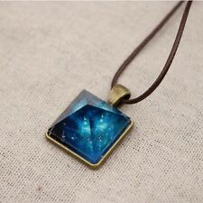 New Women Pyramid Blue Sky Star Glow In Dark Pendant Faux Leather Chain Necklace