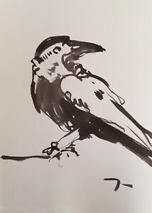 "JOSE TRUJILLO - NEW Collectible Piece ABSTRACT EXPRESSIONISM INK WASH 24"" RAVEN"