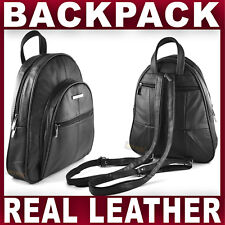 BLACK REAL LEATHER BACKPACK small rucksack travel shoulder bag GENTS WOMENS NEW