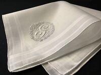 "#6696🌟PREMIUM Antique c1910s French Appenzell Momogram ""G"" Wedding Handkerchief"