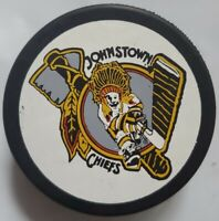 JOHNSTOWN CHIEFS BLACKHAWKS ECHL VINTAGE HOCKEY PUCK VEGUM MFG. MADE IN SLOVAKIA