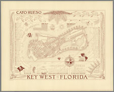 Vintage 1930s Map Key West Florida - 2nd Edition - Ready to Frame