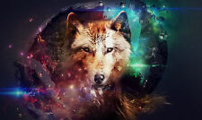 Framed Print - Colourful Wolf Abstract (Picture Poster Wild Animal Art Hunting)