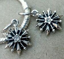 2PC LOT Disney Frozen 3D Snowflake CZ Rhinestone European Dangle Beads Charms