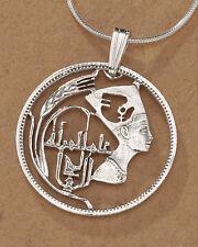 "Sterling Silver Nefertiti Pendant, Silver Egyptian Coin Jewelry, 1"" , ( # 91S )"
