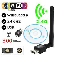 Adaptador WiFi 300Mbps para PC o Portatil con antena, receptor USB wireless LAN