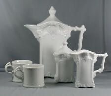 Vintage 5 Pc All White Porcelain Tea Pot / Chocolate Pot Set