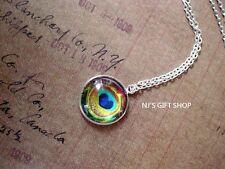 Peacock Eye feather Golden Blue Green Multi color Pendant Necklace