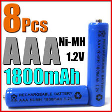 8 pcs AAA 3A 1800mAh Ni-MH Rechargeable Battery Blue